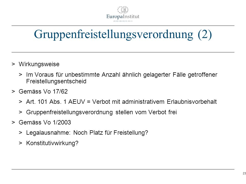 Gruppenfreistellungsverordnung (2)