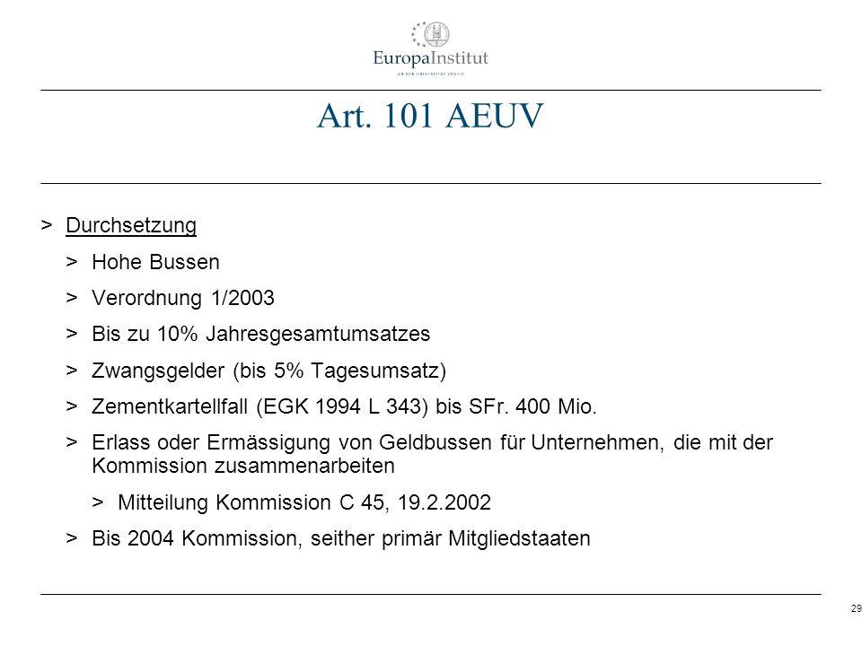 Art. 101 AEUV Durchsetzung Hohe Bussen Verordnung 1/2003