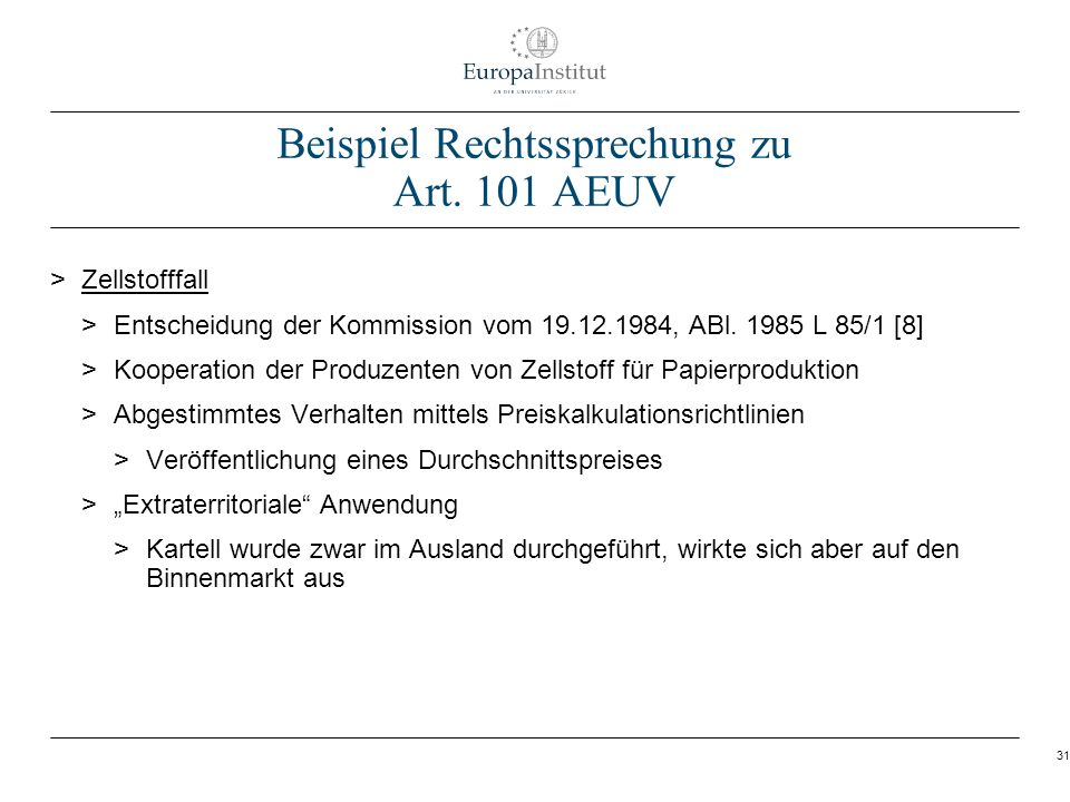 Beispiel Rechtssprechung zu Art. 101 AEUV