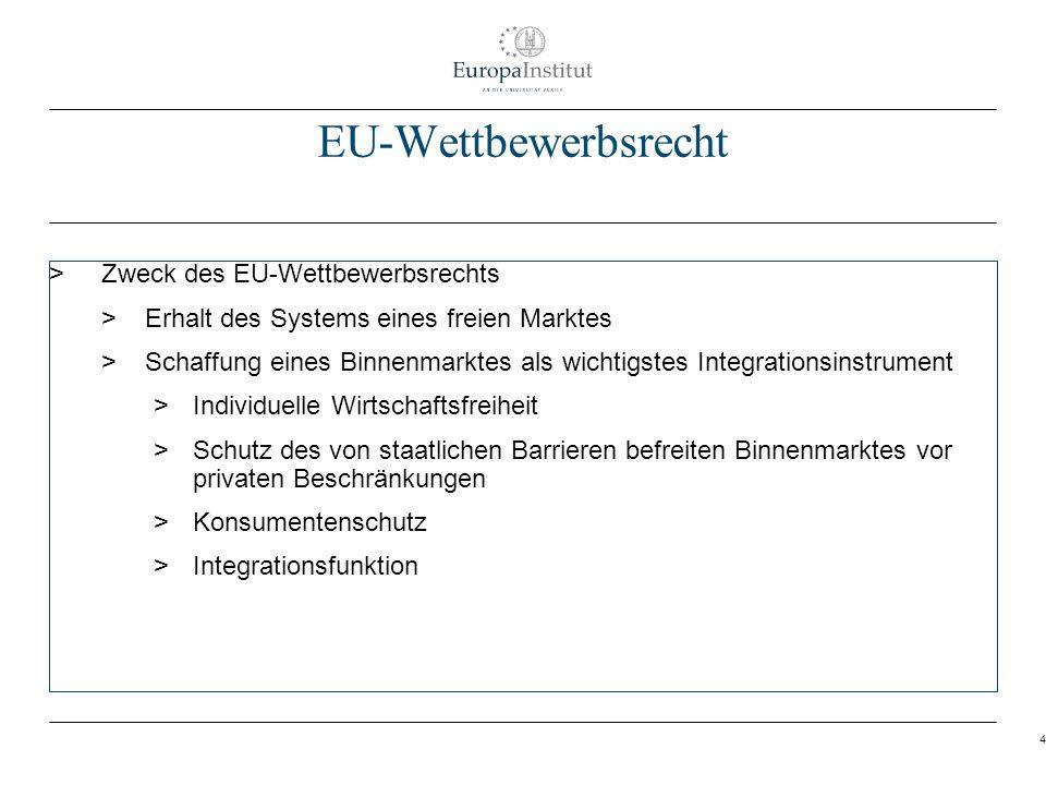 EU-Wettbewerbsrecht Zweck des EU-Wettbewerbsrechts