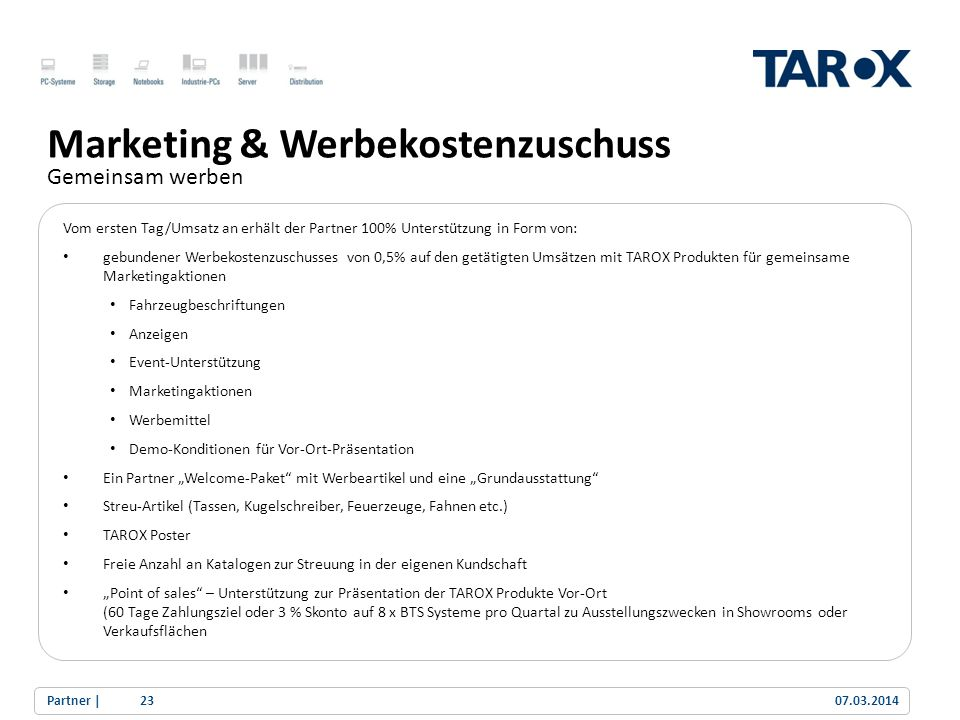 Marketing & Werbekostenzuschuss