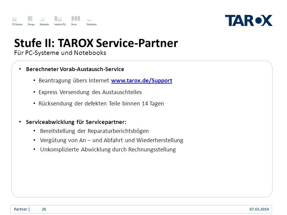 Stufe II: TAROX Service-Partner