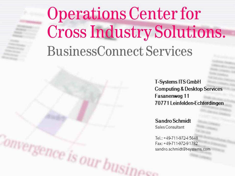 Operations Center for Cross Industry Solutions