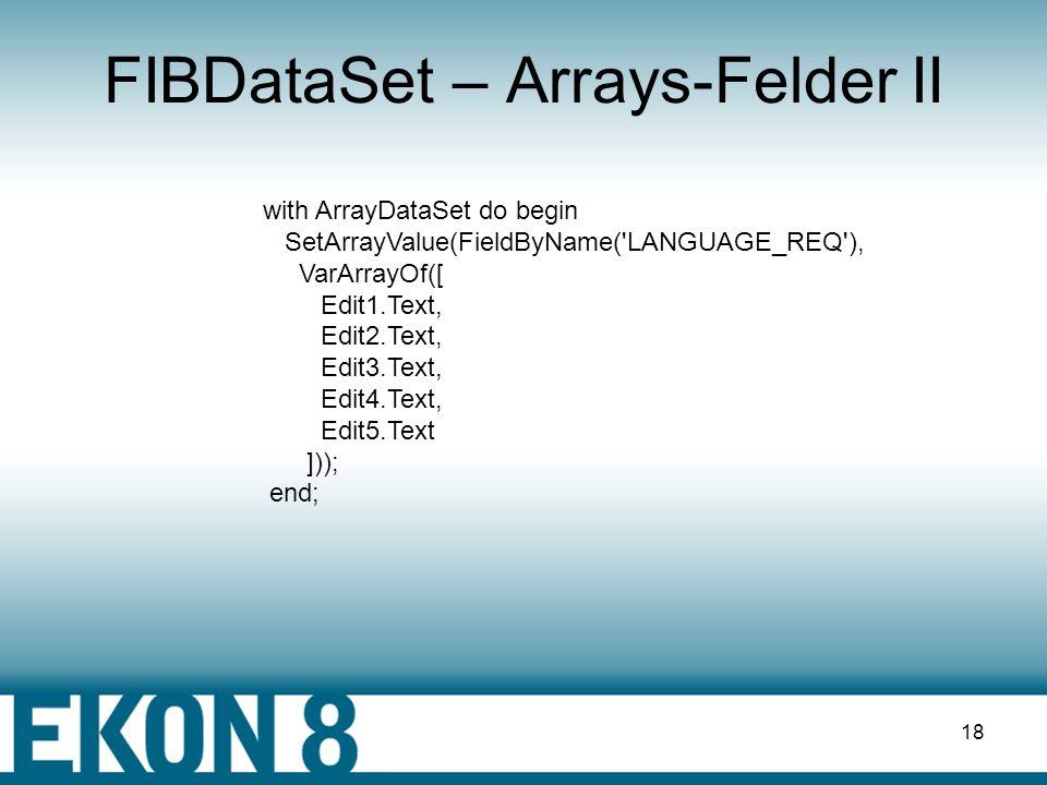 FIBDataSet – Arrays-Felder II