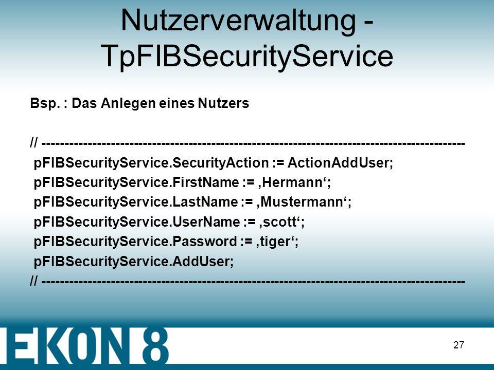 Nutzerverwaltung - TpFIBSecurityService