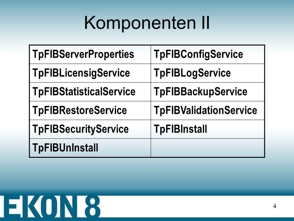 Komponenten II TpFIBServerProperties TpFIBConfigService