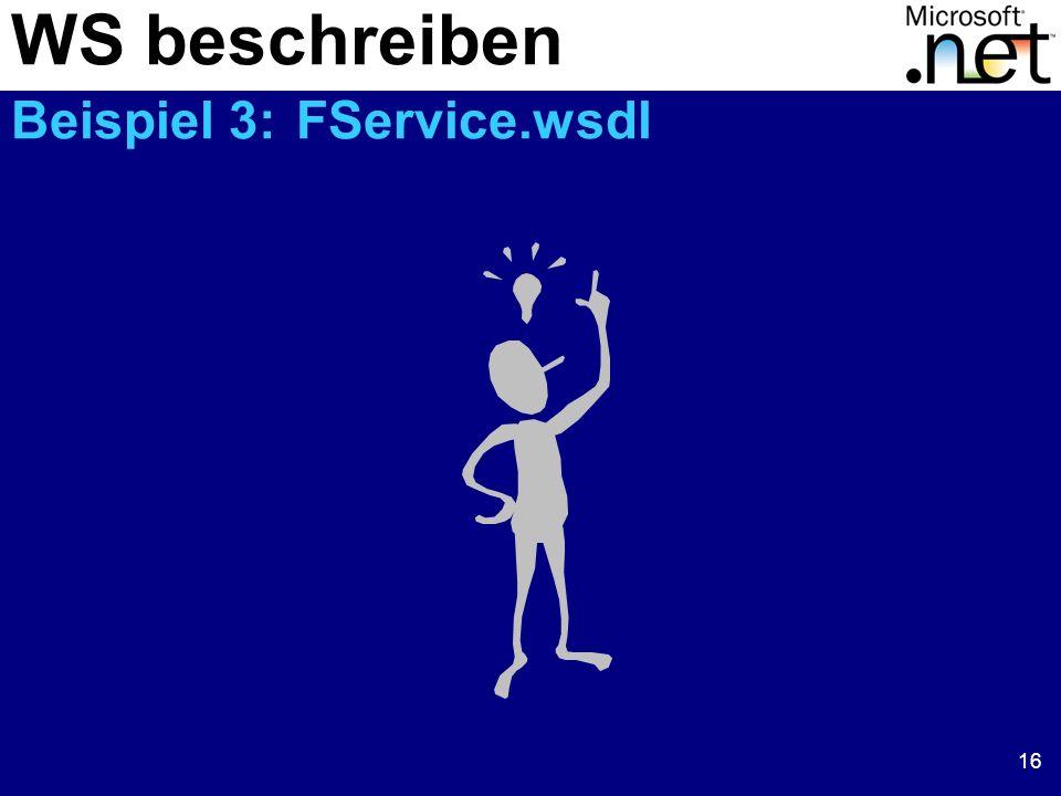 WS beschreiben Beispiel 3: FService.wsdl