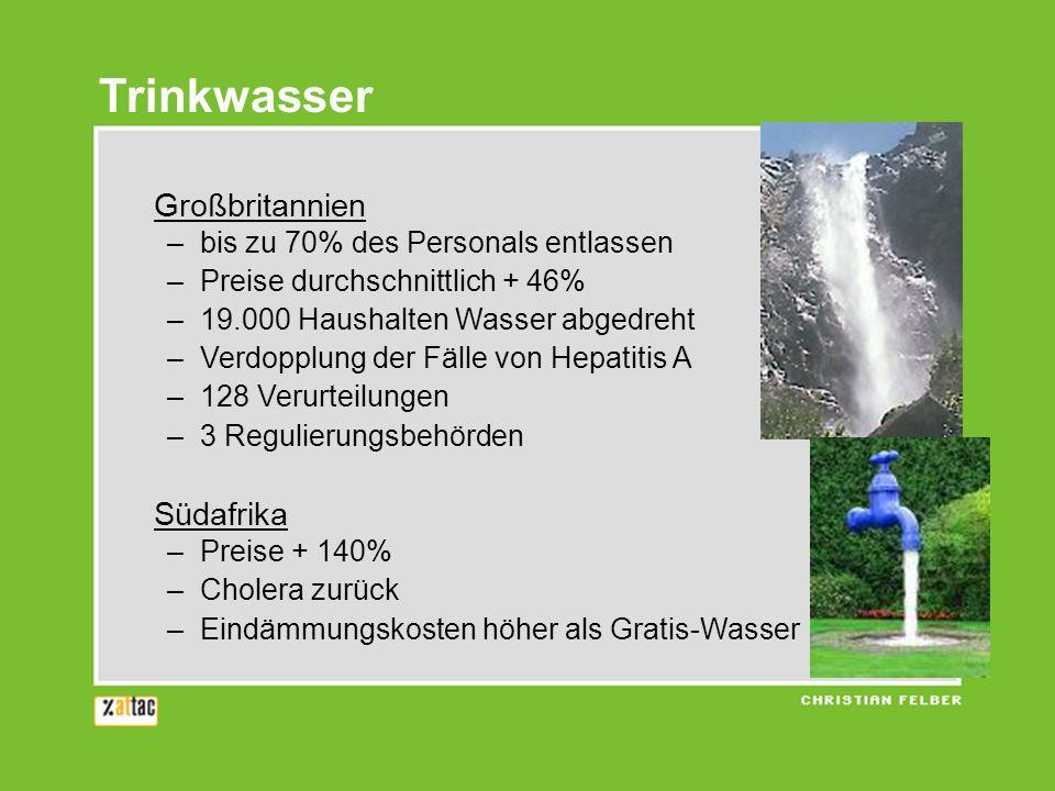 Trinkwasser Großbritannien Südafrika