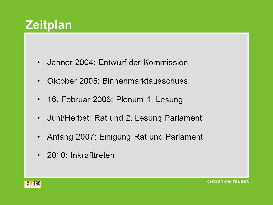 Zeitplan Jänner 2004: Entwurf der Kommission