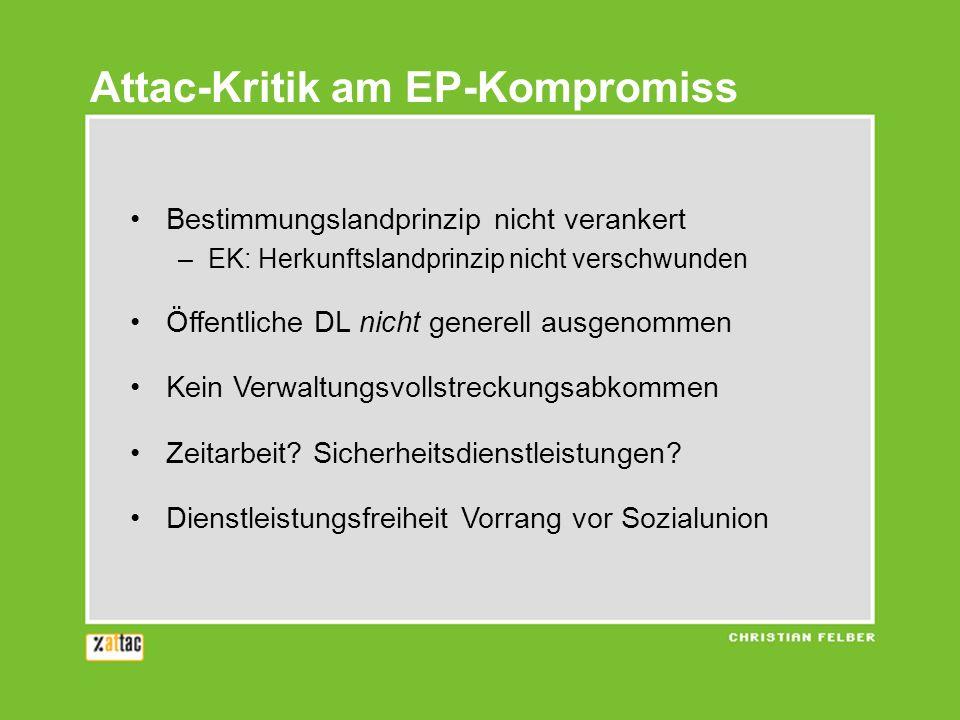 Attac-Kritik am EP-Kompromiss