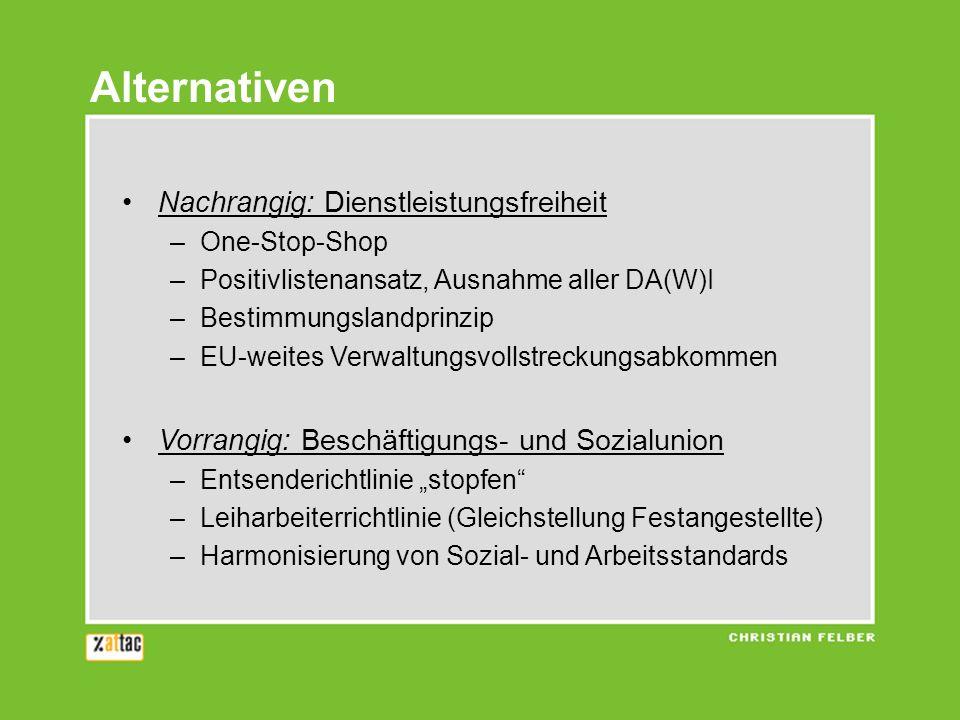 Alternativen Nachrangig: Dienstleistungsfreiheit
