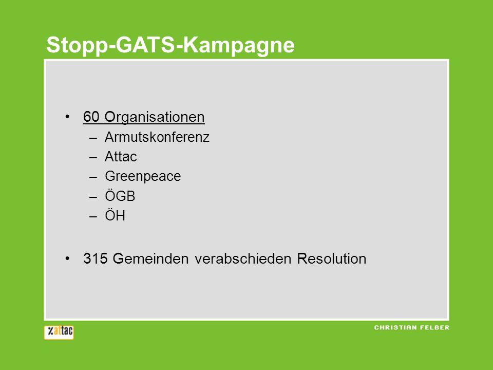 Stopp-GATS-Kampagne 60 Organisationen