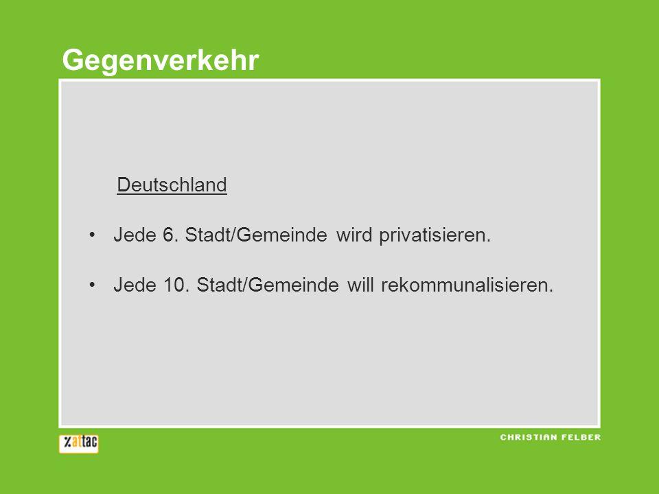 Gegenverkehr Deutschland Jede 6. Stadt/Gemeinde wird privatisieren.