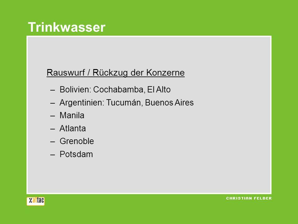 Trinkwasser Rauswurf / Rückzug der Konzerne