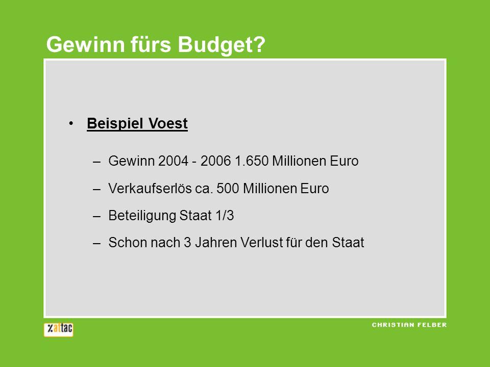 Gewinn fürs Budget Beispiel Voest
