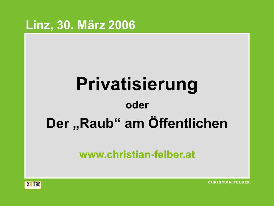 """Privatisierung oder Der """"Raub am Öffentlichen www.christian-felber.at"""