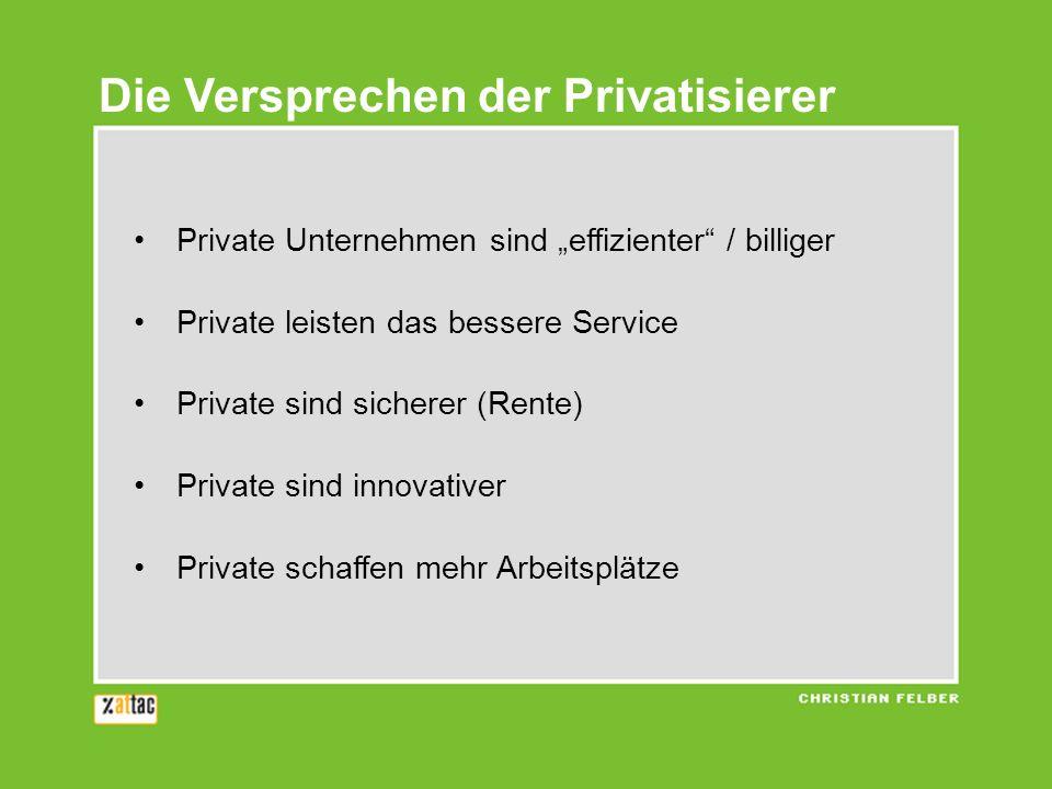 Die Versprechen der Privatisierer