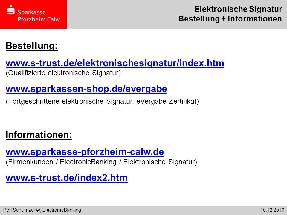 Elektronische Signatur Bestellung + Informationen