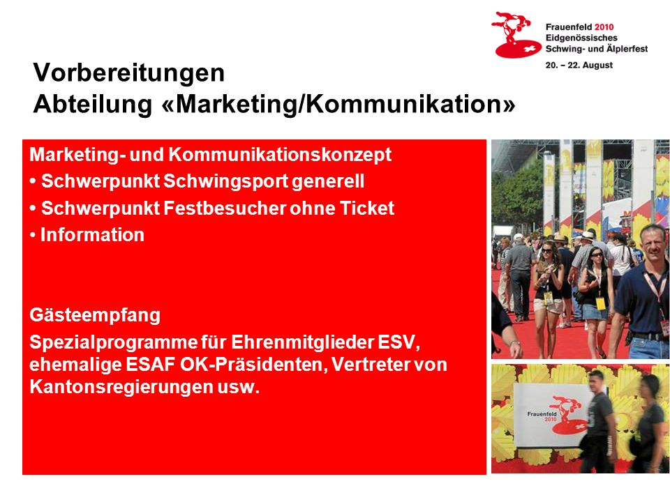 Vorbereitungen Abteilung «Marketing/Kommunikation»