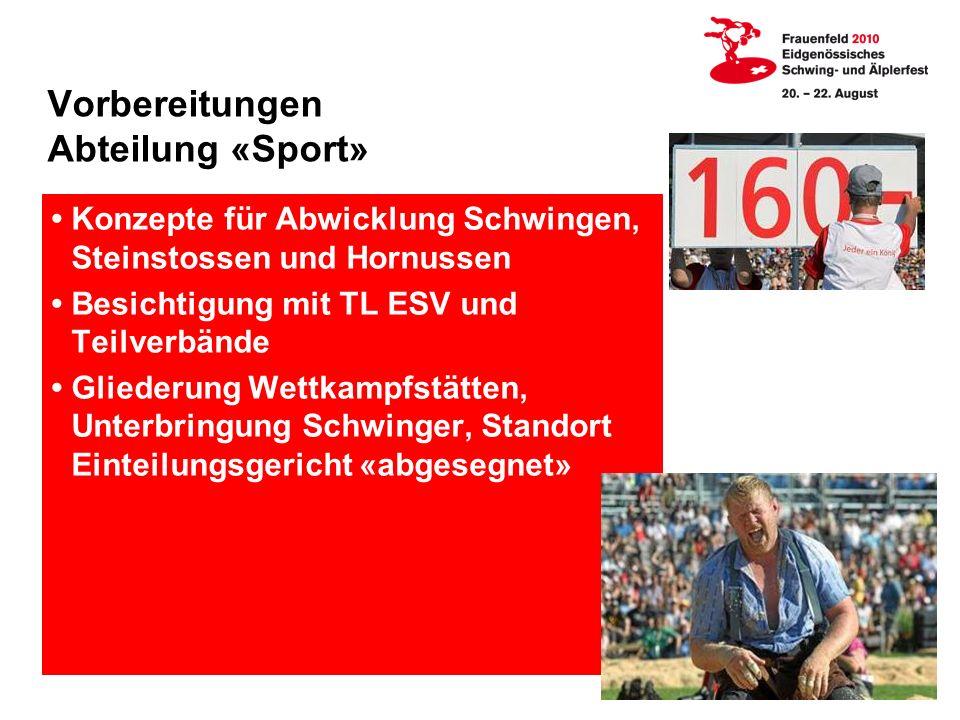 Vorbereitungen Abteilung «Sport»