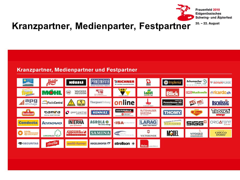 Kranzpartner, Medienparter, Festpartner