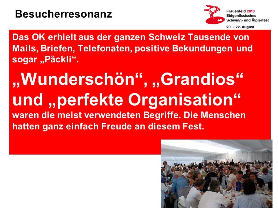"""Besucherresonanz Das OK erhielt aus der ganzen Schweiz Tausende von Mails, Briefen, Telefonaten, positive Bekundungen und sogar """"Päckli ."""