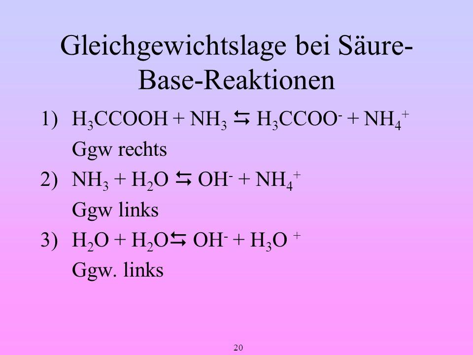 Gleichgewichtslage bei Säure-Base-Reaktionen