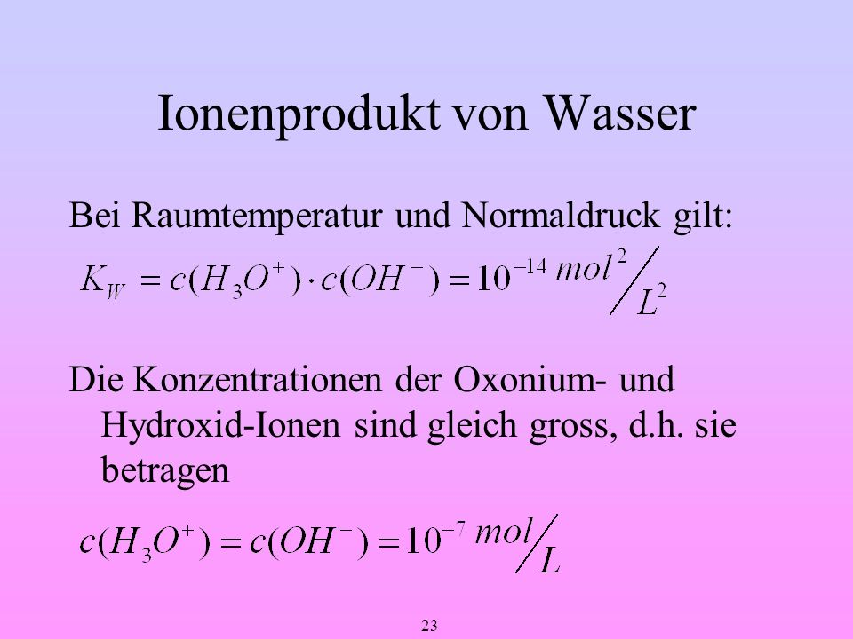 Ionenprodukt von Wasser