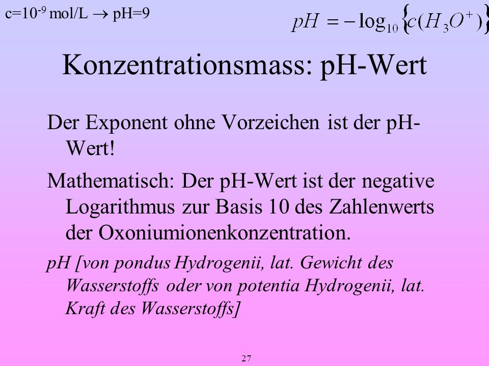 Konzentrationsmass: pH-Wert