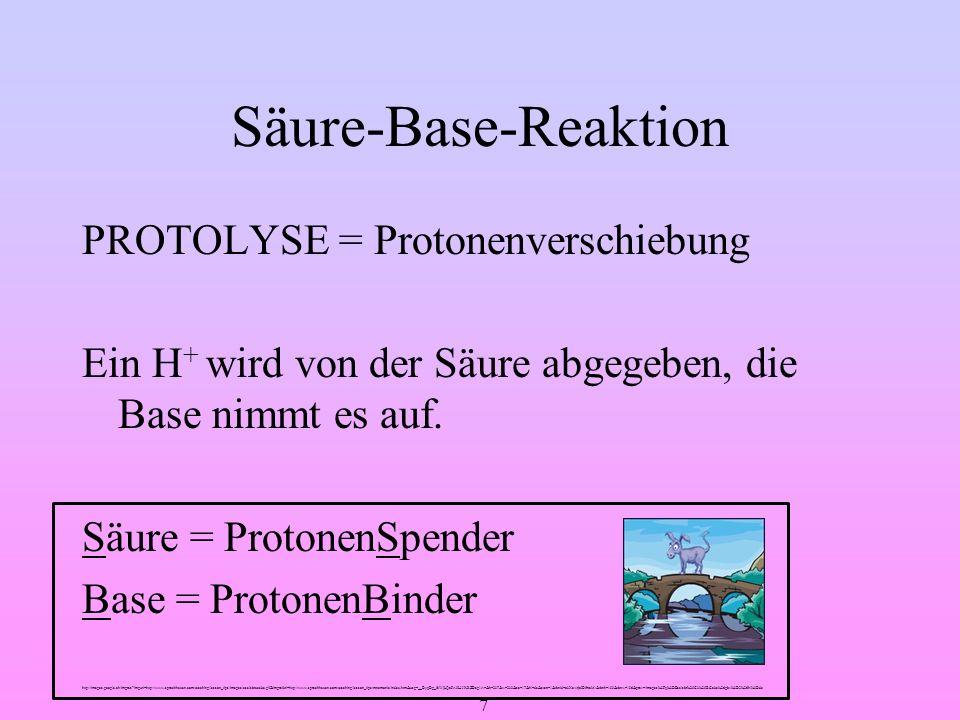 Säure-Base-Reaktion PROTOLYSE = Protonenverschiebung