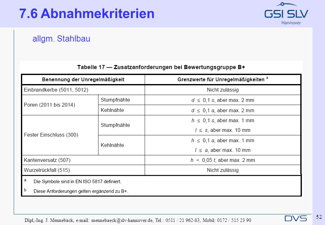 7.6 Abnahmekriterien allgm. Stahlbau