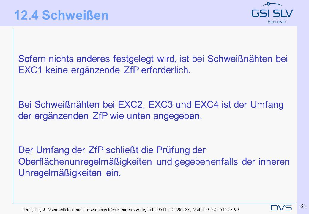 12.4 Schweißen Sofern nichts anderes festgelegt wird, ist bei Schweißnähten bei EXC1 keine ergänzende ZfP erforderlich.