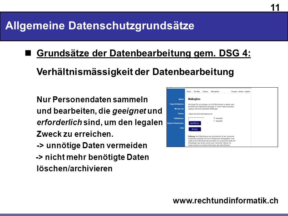 Allgemeine Datenschutzgrundsätze