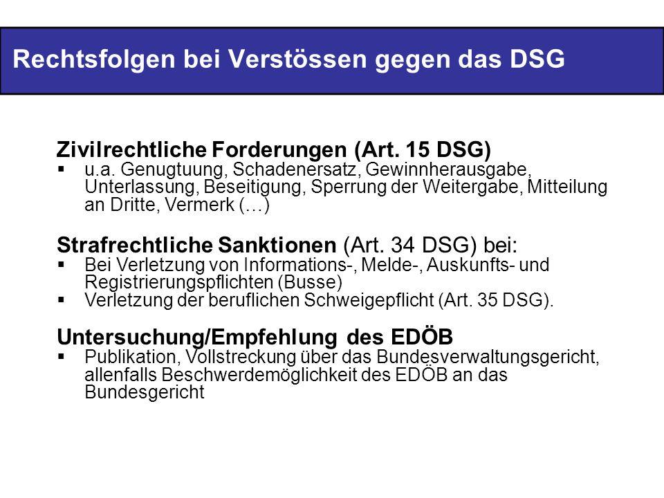 Rechtsfolgen bei Verstössen gegen das DSG