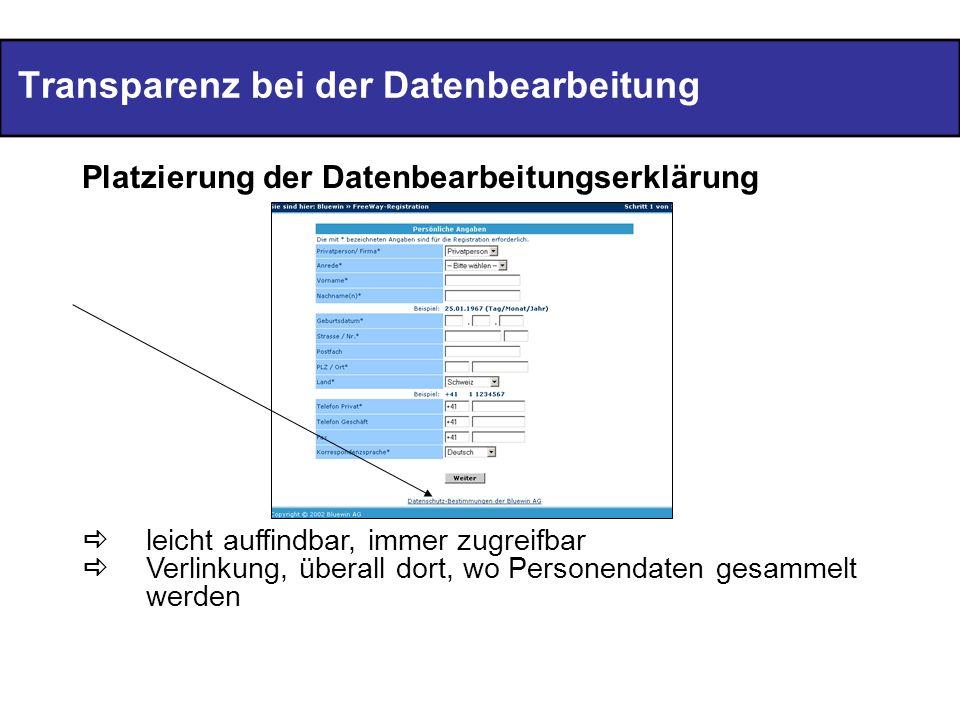 Transparenz bei der Datenbearbeitung