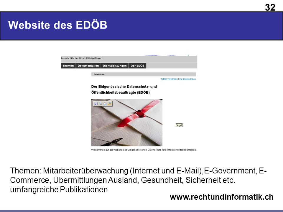 Website des EDÖB