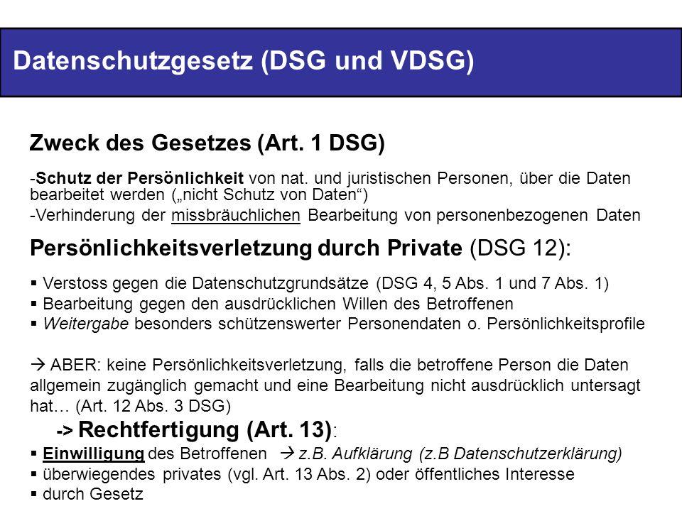 Datenschutzgesetz (DSG und VDSG)