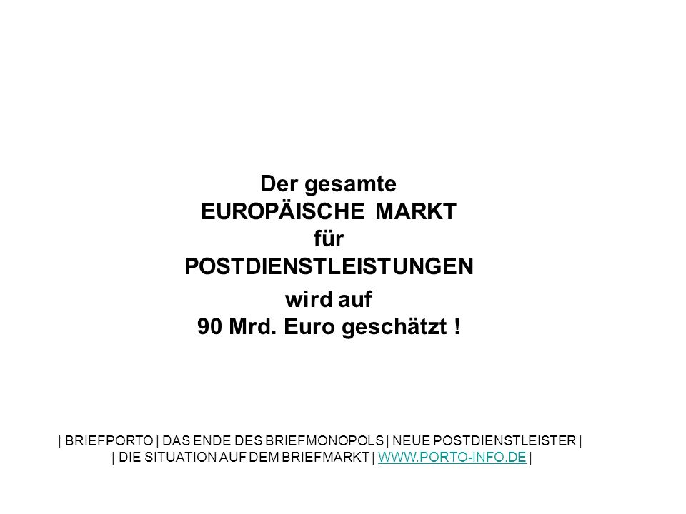 Der gesamte EUROPÄISCHE MARKT für POSTDIENSTLEISTUNGEN