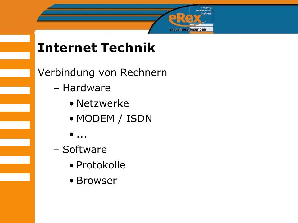 Internet Technik Verbindung von Rechnern Hardware Netzwerke