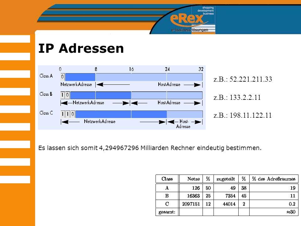 IP Adressen Es lassen sich somit 4,294967296 Milliarden Rechner eindeutig bestimmen. z.B.: 52.221.211.33.