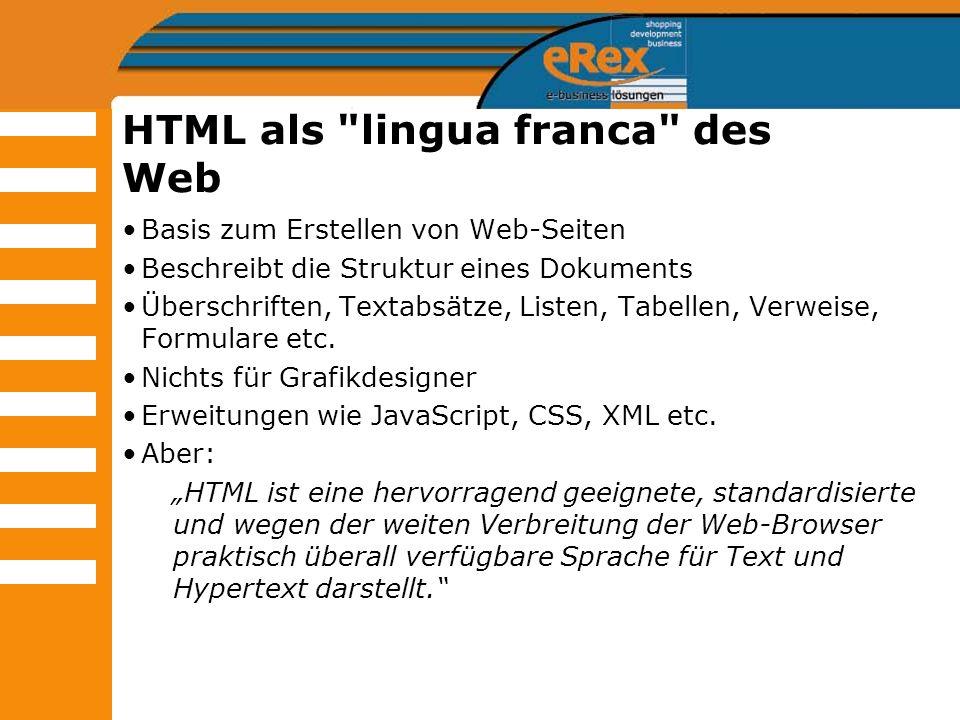 HTML als lingua franca des Web