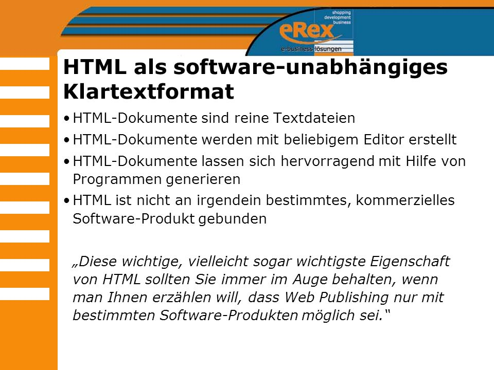 HTML als software-unabhängiges Klartextformat
