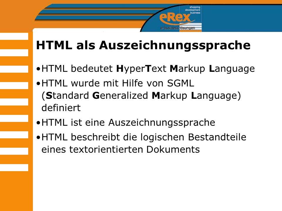 HTML als Auszeichnungssprache