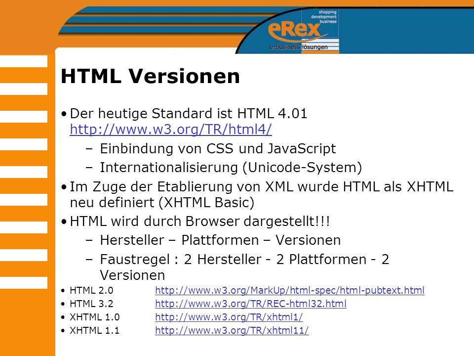 HTML Versionen Der heutige Standard ist HTML 4.01 http://www.w3.org/TR/html4/ Einbindung von CSS und JavaScript.