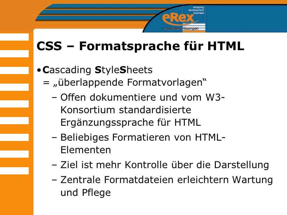 CSS – Formatsprache für HTML