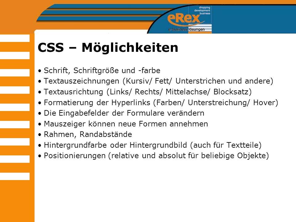 CSS – Möglichkeiten Schrift, Schriftgröße und -farbe