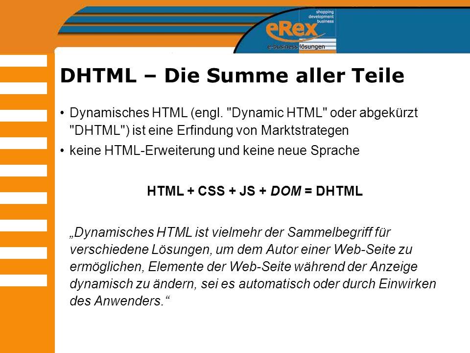 DHTML – Die Summe aller Teile
