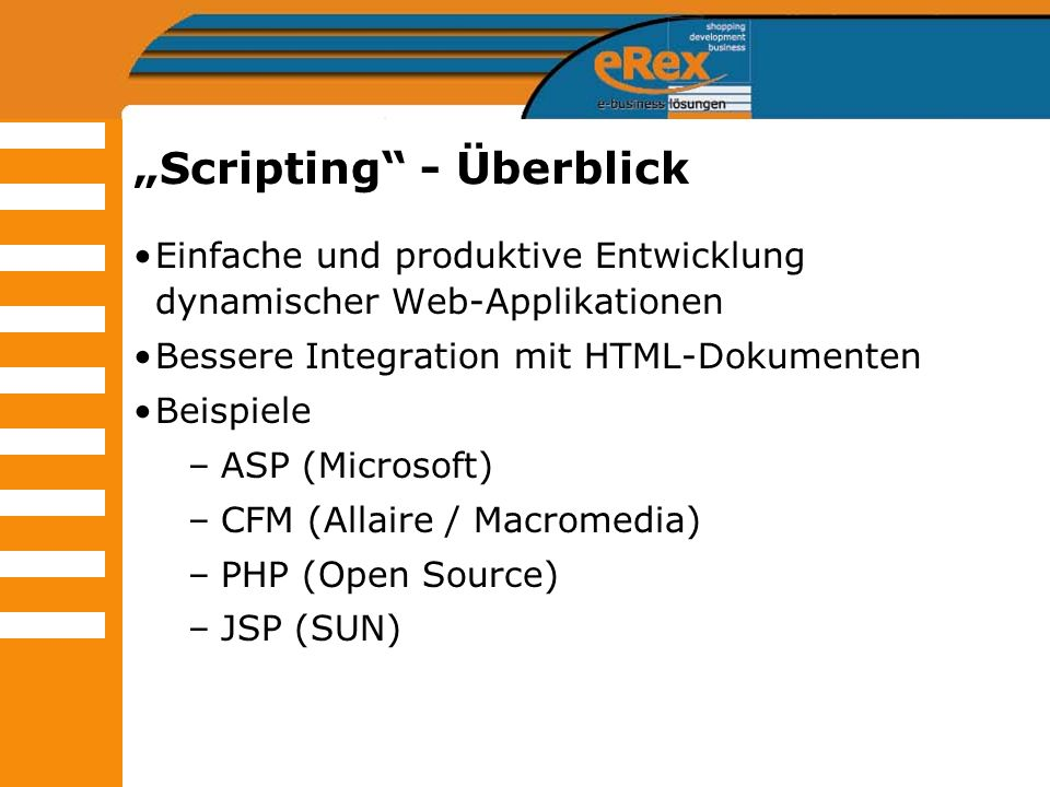 """Scripting - Überblick"