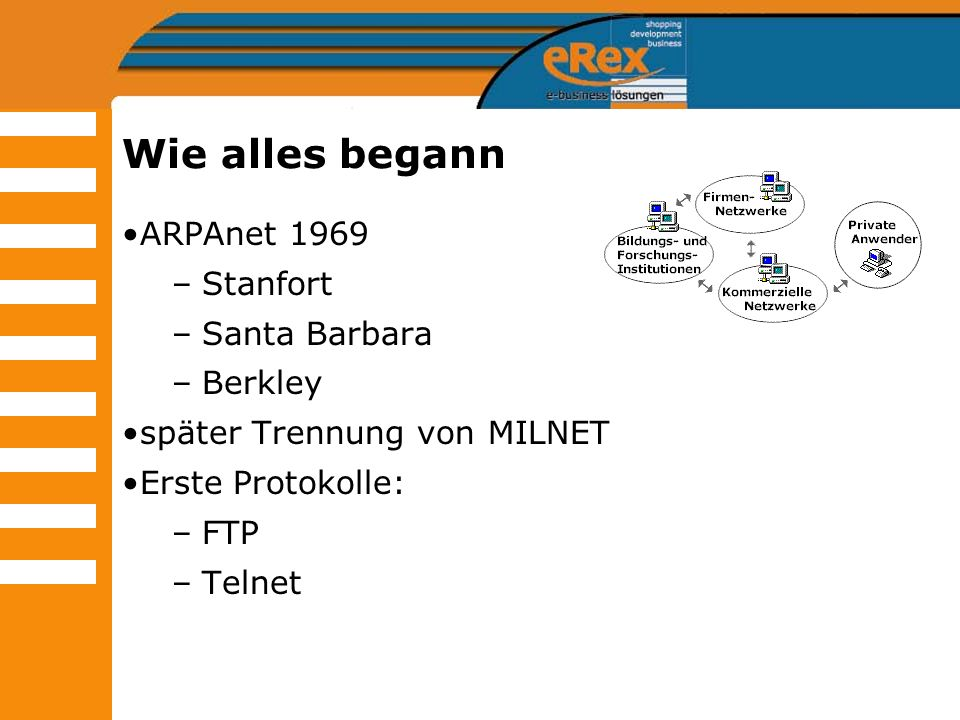 Wie alles begann ARPAnet 1969 Stanfort Santa Barbara Berkley