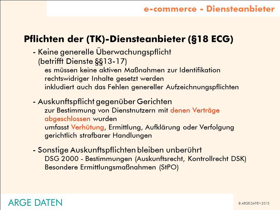 Pflichten der (TK)-Diensteanbieter (§18 ECG)